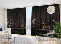 """Фото Шторы в зал """"Луна над Манхэттеном 2,7м*2,9м (2 полотна по 1,45м), тесьма"""