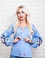 Эксклюзивная женская вышиванка с геометрическим орнаментом, голубая