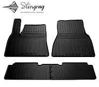Резиновые автоковрики TESLA Model S 2012- Комплект из 4-х ковриков Черный в салон
