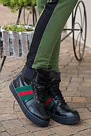"""Модные, женские, зимние, высокие ботинки """"GUCCI"""" (натуральная кожа, внутри натуральный мех)"""