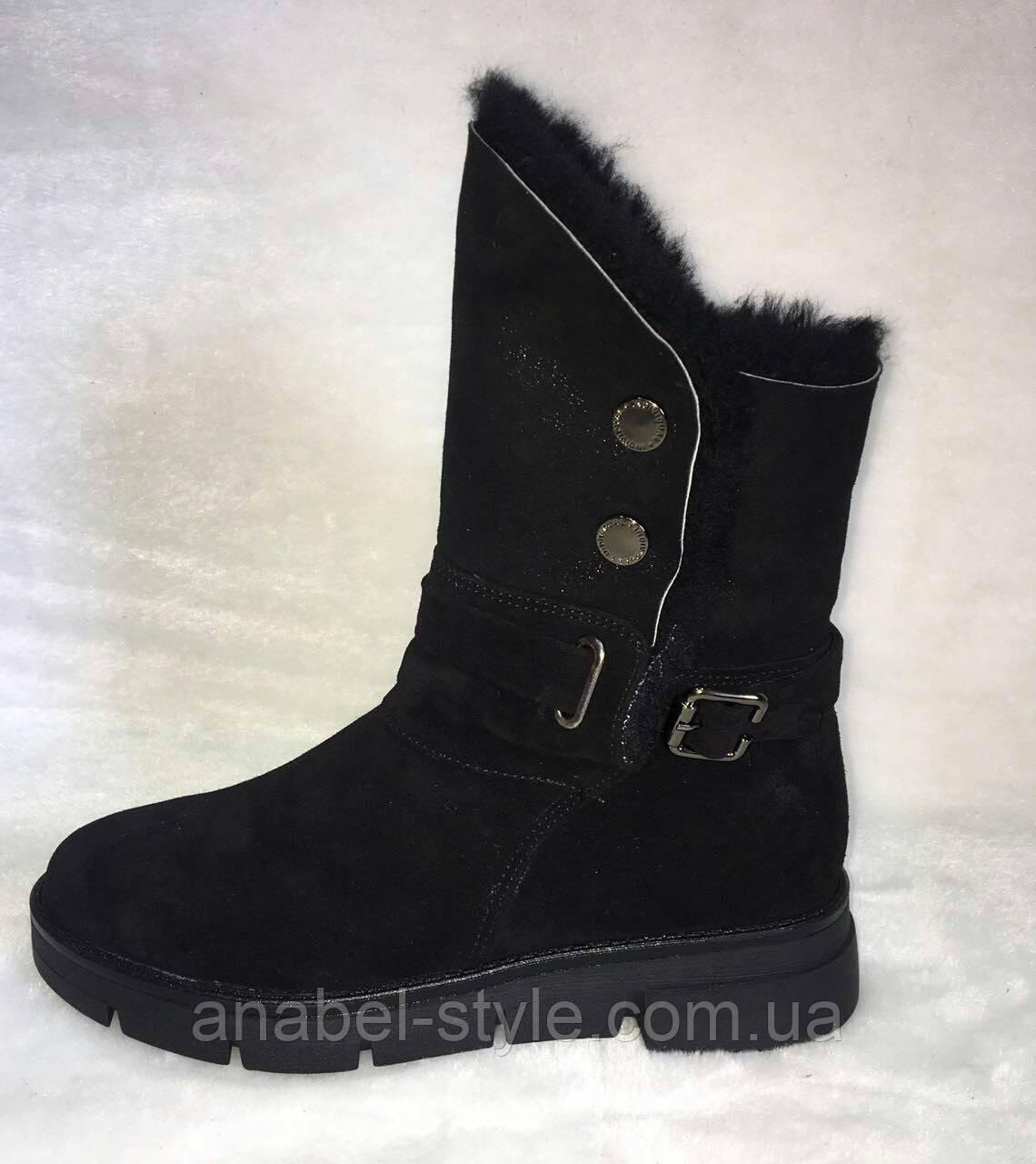 Півчобітки жіночі зимові натуральна замша чорного кольору Код 942