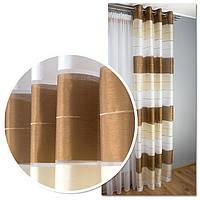 Готовые шторы на люверсах для гостиной и комнаты в полоску, коричневый, молочный и белый