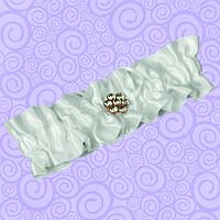 Подвязка для невесты белая с атласной лентой