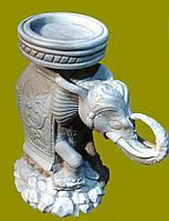 """Скульптура из мрамора для дачи и сада """"Слон"""" (белый средний)"""