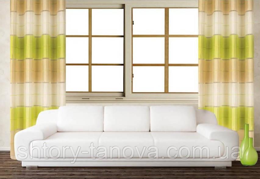 Пошитые шторы на люверсах для гостиной и комнаты в полоску, зелёный, молочный и белый