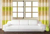 Декоративная штора на люверсах для гостиной и комнаты в полоску, зелёный, молочный и белый
