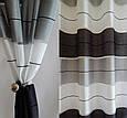 Штора готовая на люверсах для гостиной и комнаты в полоску, чёрный, серый и белый, фото 3