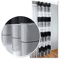 Штора готовая на люверсах для гостиной и комнаты в полоску, чёрный, серый и белый