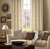 Готовые шторы на люверсах для гостиной и комнаты в полоску, экрю