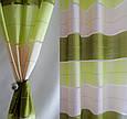 Готовые шторы на люверсах для гостиной и комнаты в полоску, серый, салатовый и молочные, фото 3