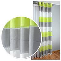 Готовые шторы на люверсах для гостиной и комнаты в полоску, тёмно-зелёный, зелёный и молочные