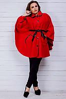 Женское пальто (48-62 ) — кашемир+эко кожа от компании Discounter.top
