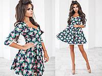 Платье (42,44,46) — джинс+льняная лента от компании Discounter.top