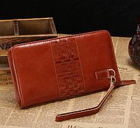 Кожаный клатч John McDee 8028B рыжий