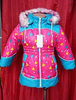 Куртка-пальто зимняя для девочек р.86-104, очень теплая зимняя куртка на овчине мягкая и легкая