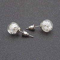 """Серьги пуссеты мини """"Колба"""" с  белыми кристаллами d-10мм"""