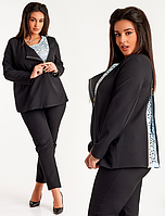 Красивый молодежный деловой женский брючный костюм двойка большого размера  +цвета