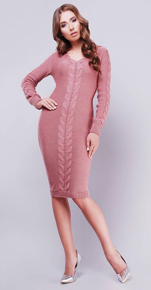 Вязаное платье с декором розовое