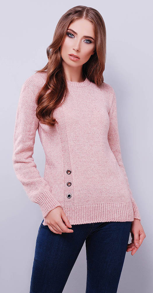 Свитер с полосой нежно-розовый меланж