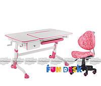 Растущая парта-трансформер FunDesk Amare с выдвижным ящиком + Детское кресло SST5 (Amare with drawer Pink +SST5 Pink)