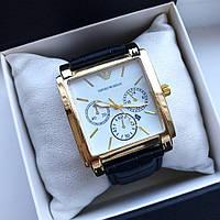 Супер стильные унисекс часы реплика Армани золотые с белым циферблатом