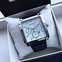 Супер стильные Унисекс часы Армани серебро с белым циферблатом