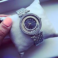 Стильные женские часы Элегант серебро+черный циферблат