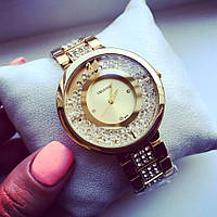 Супер стильные женские часы Сваровски золото+золотистый циферблат