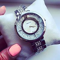 Супер стильные женские часы Сваровски серебро+серебристый циферблат