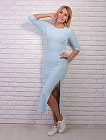 Трикотажное повседневное платье длинной миди с распорками по бокам