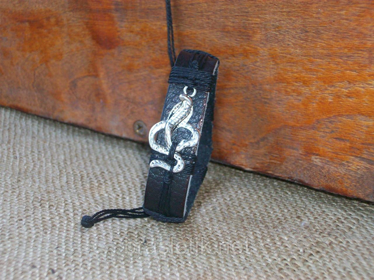 """Черный кожаный браслет ЗМЕЯ, ручная работа - интернет-магазин """"БРАСЛЕТКА - КОНФЕТКА"""" в Мариуполе"""