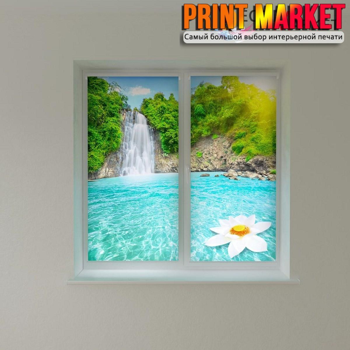Рулонные шторы с фотопечатью цветок и водопад