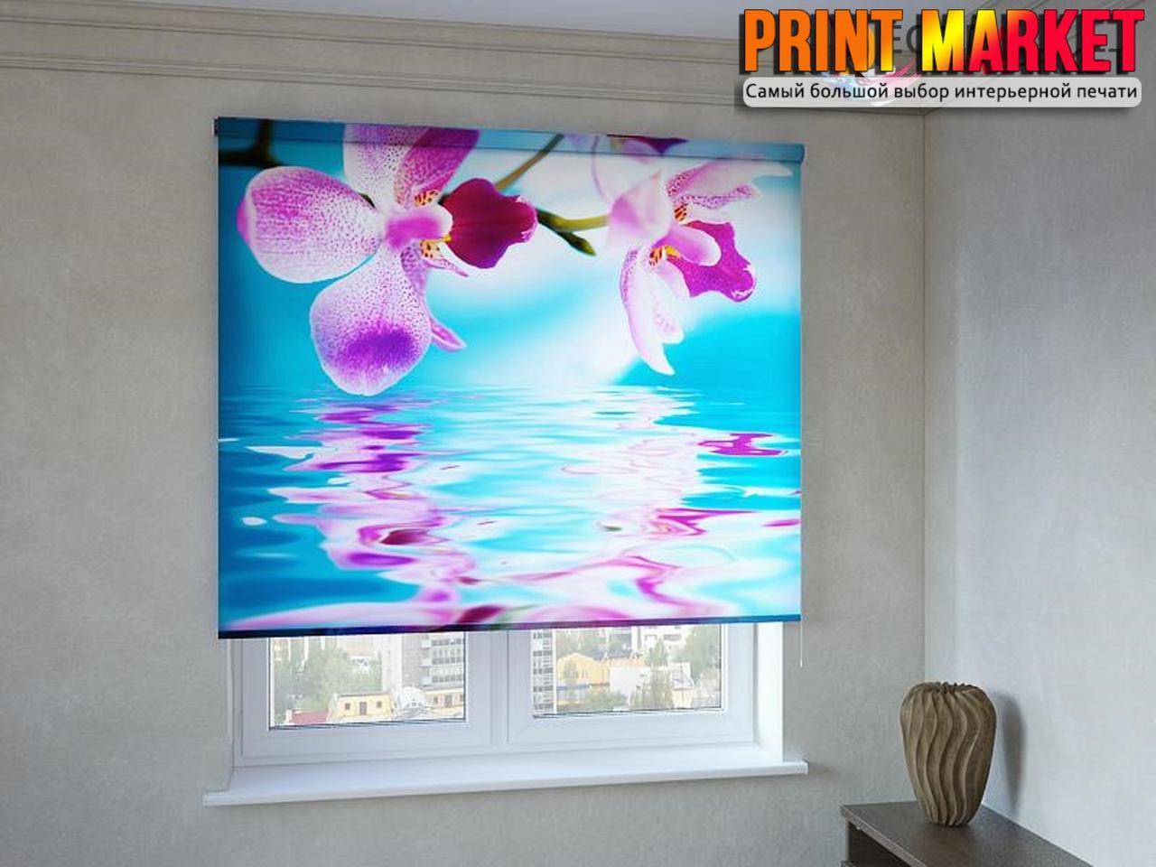 Рулонные шторы с фотопечатью цветы над водой 3D