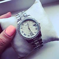 Стильные Женские часы Женева серебро+серебристый циферблат