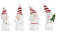 Декоративная новогодняя фигурка Снеговик в вязаной шапке 11.5см, 4 вида