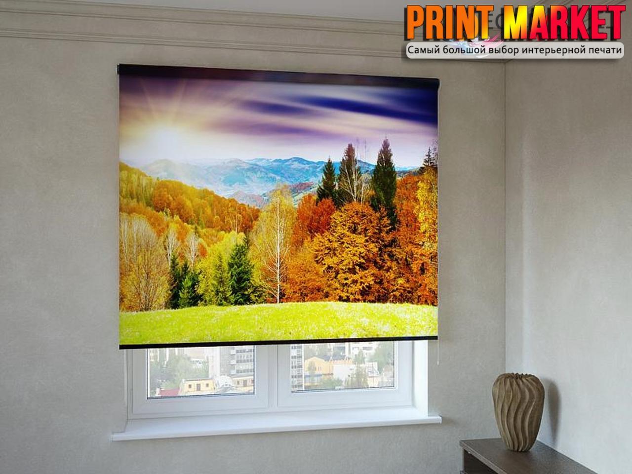 Рулонные шторы с фотопечатью осенний лес и горы