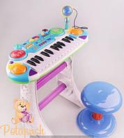 Синтезатор с микрофоном и стульчиком Пианино 7235 (2 цвета)