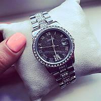 Стильные Женские часы Женева серебро+черный циферблат