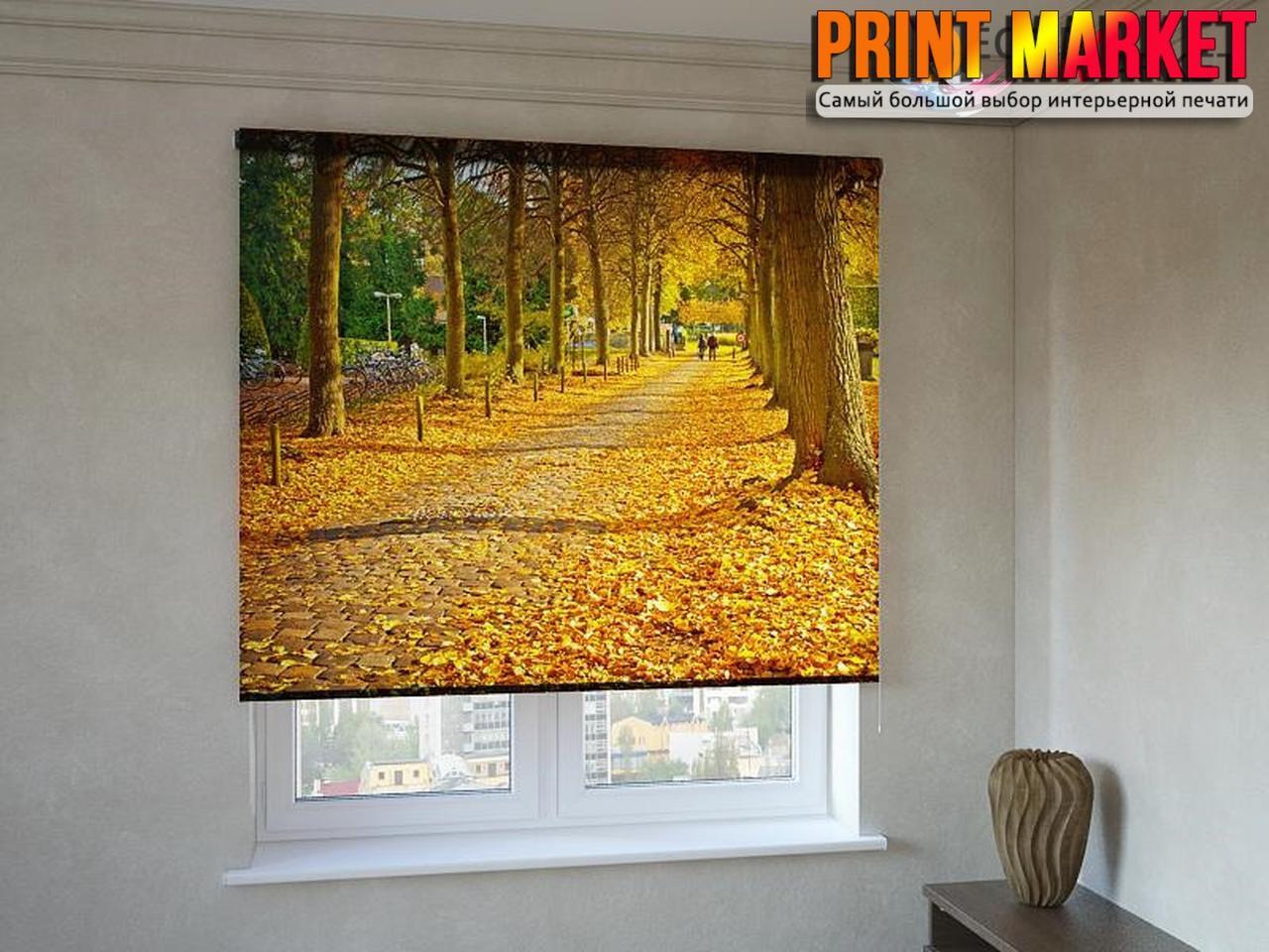 Рулонные шторы с фотопечатью осенний парк 3д