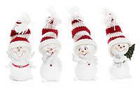 Декоративная новогодняя фигурка Снеговик в вязаной шапке 6.5см
