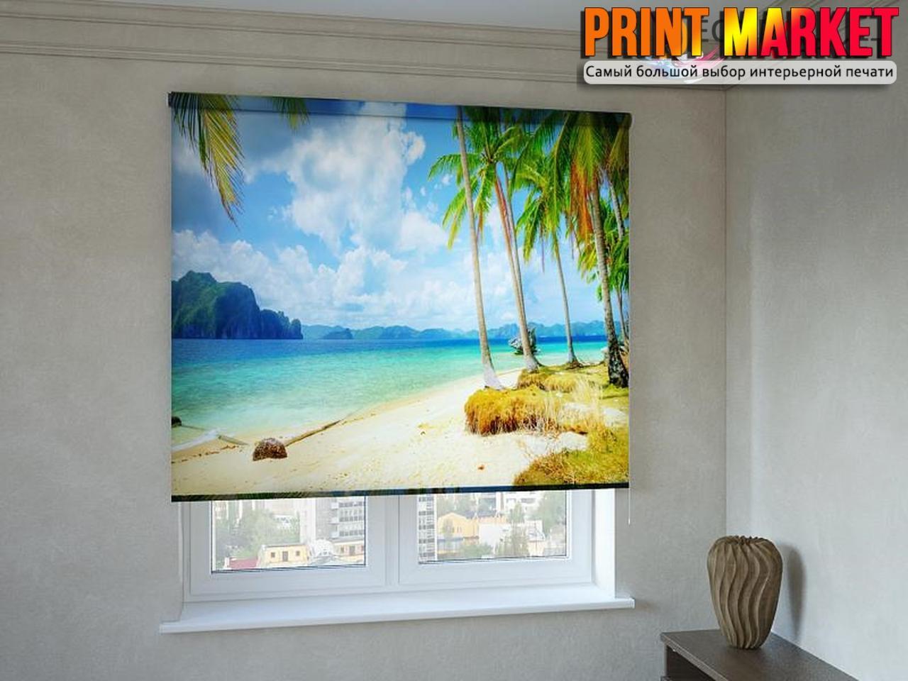 Рулонные шторы с фотопечатью пальмы и берег