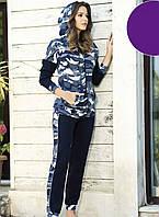 Женская пижама камуфляжная с капюшоном Shirly 21126, костюм домашний с брюками