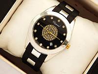 Женские наручные часы Chopard серебро на каучуковом ремешке с вставками, фото 1