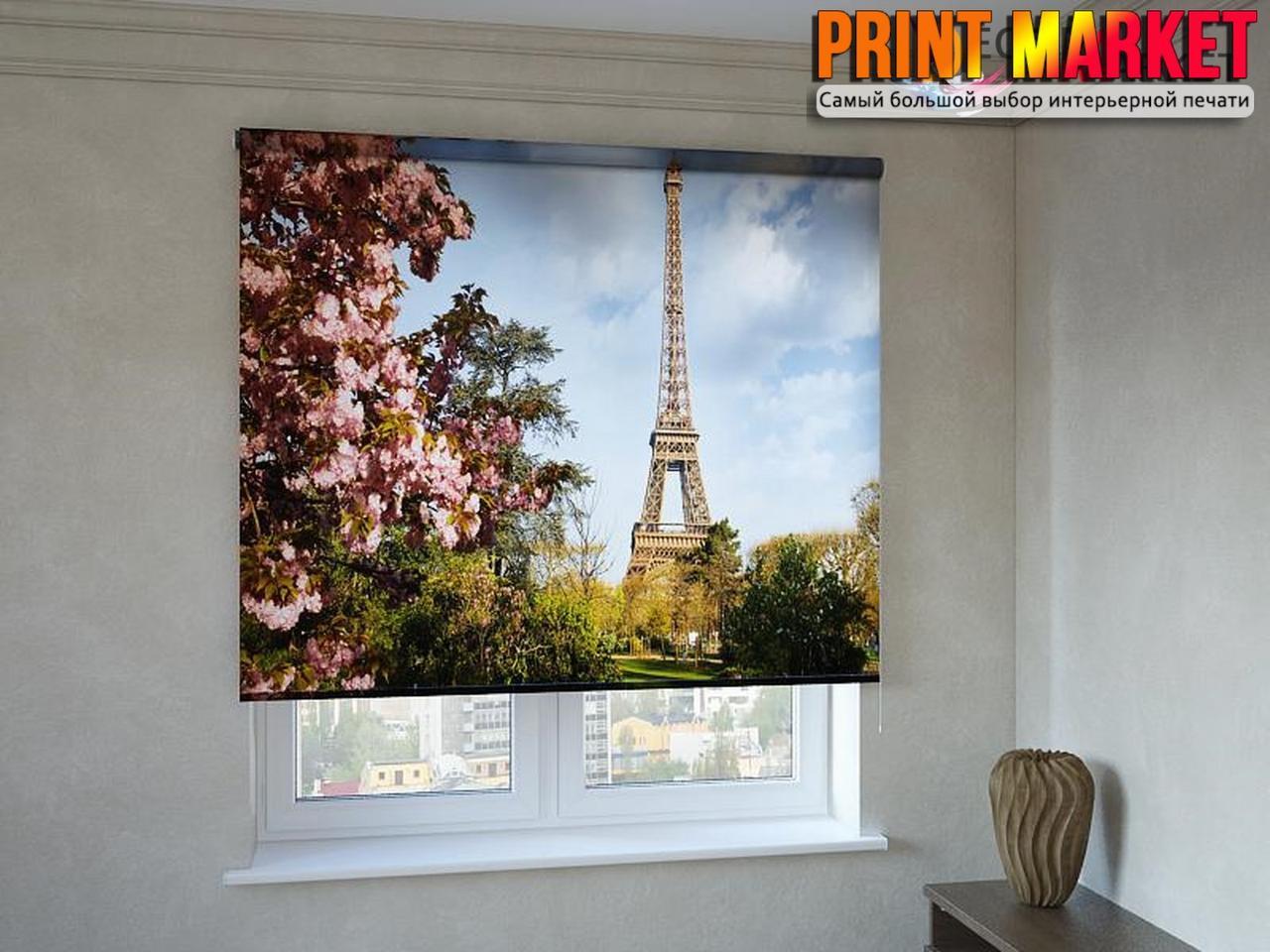 Рулонные шторы с фотопечатью цветы и Эйфелева башня