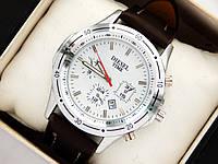 Мужские кварцевые наручные часы Diesel с датой на кожаном ремешке