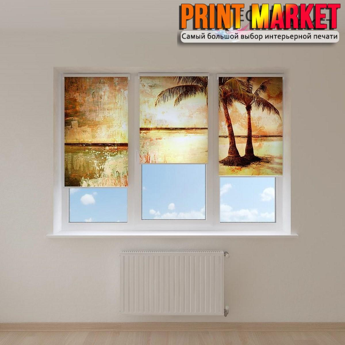 Рулонные шторы с фотопечатью песок и пальмы