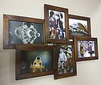 Деревянная эко мультирамка, коллаж #406 венге, орех, белый, чёрный., фото 1