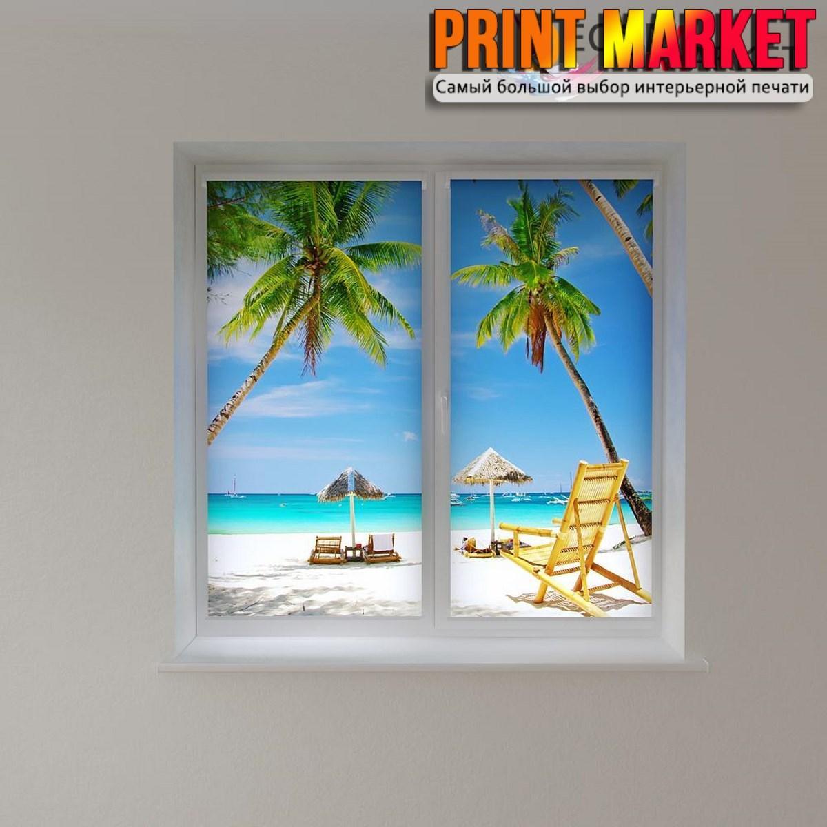 Рулонные шторы с фотопечатью пальмы на пляже 3D