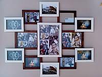 Деревянная эко мультирамка, коллаж #113 комбинированный: венге, орех, белый, чёрный., фото 1
