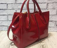 Стильная кожаная сумка натуральная кожа красная глянец 1716, фото 1